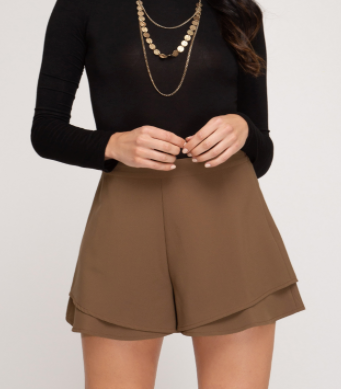 Mocha Brown Layered Shorts