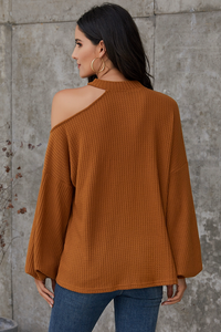 Caramel Cold Shoulder Blouse
