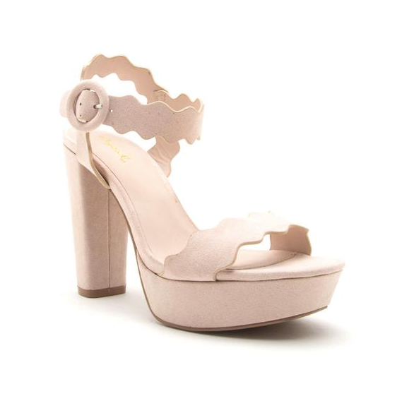 Scalloped Nude Suede Ankle Strap Heel