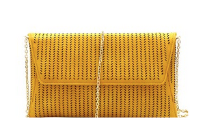 Mustard Laser- Cut Flap Shoulder Bag