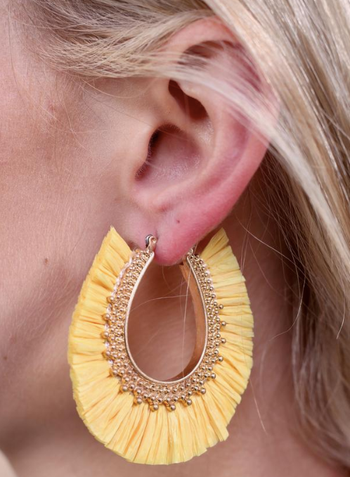 Ready for Summer - Yellow Latch Back Earrings