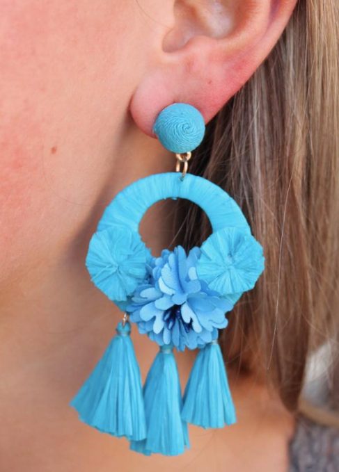 Turquoise Flower Drop Down Earrings