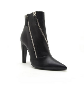 Risky In Black Double Zipper Bootie