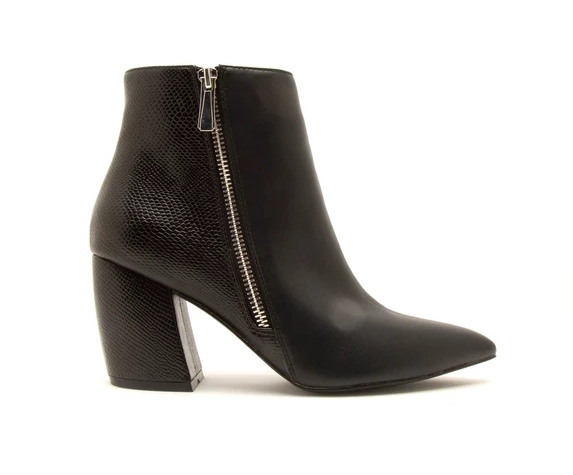 Black Side Zipper Bootie