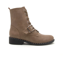 Load image into Gallery viewer, Taupe Studded Combat Bootie
