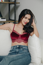 Load image into Gallery viewer, Velvet & Lace In Wine - Bralette