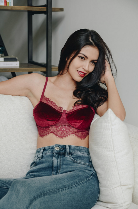 Velvet & Lace In Wine - Bralette