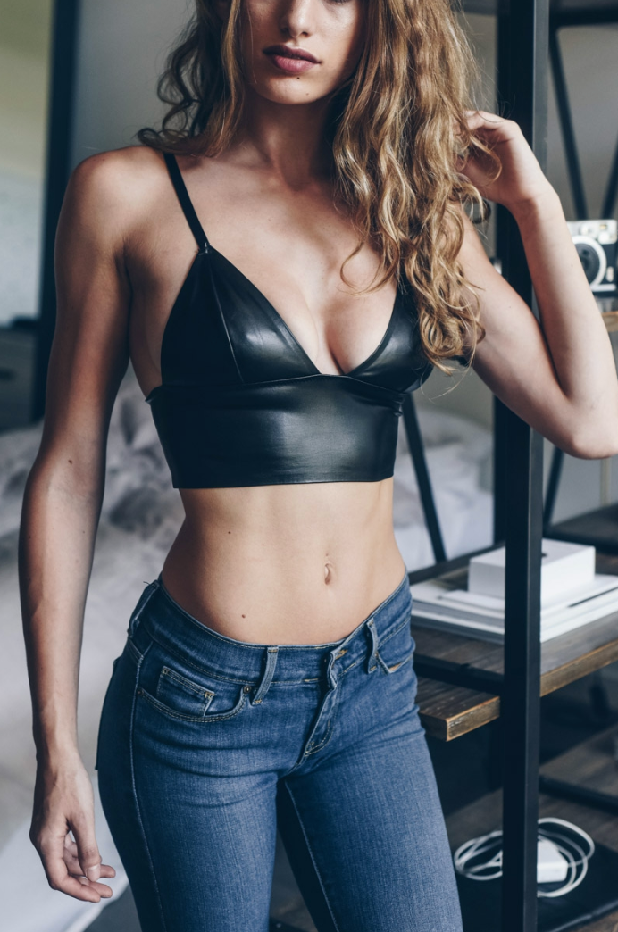 Black Faux Leather Long Line Bralette