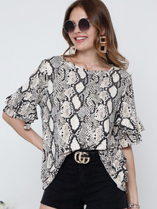 Snake Print Round Neck Short Sleeve - Blouse