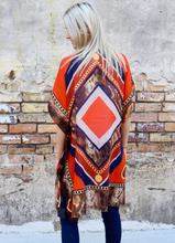 Load image into Gallery viewer, Orange Chain & Animal Print Kimono