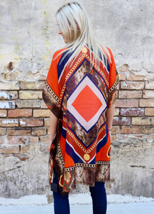 Orange Chain & Animal Print Kimono