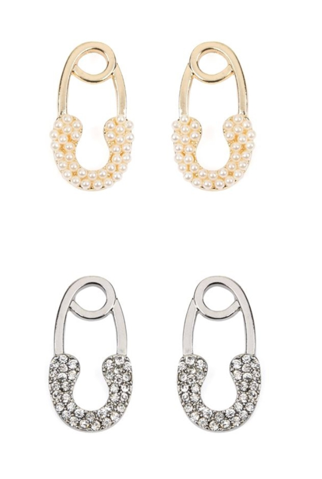 Safety Pin Shape Earrings