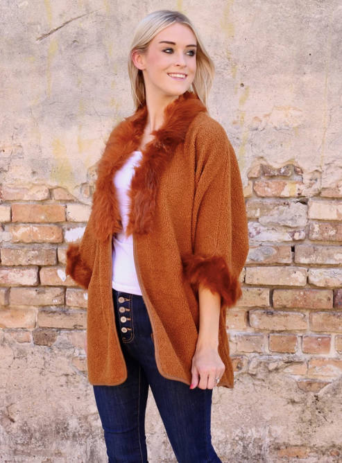 Faux Fur & Sherpa In Rust - Cardigan Sweater