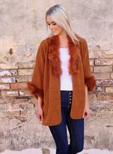 Load image into Gallery viewer, Faux Fur & Sherpa In Rust - Cardigan Sweater