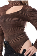 Load image into Gallery viewer, Puff Sleeve In Copper Metallic Bodysuit
