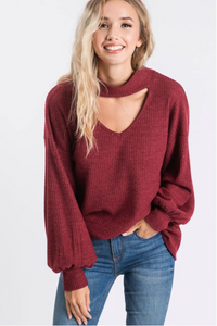 Burgundy Balloon Sleeve Top