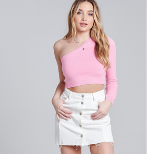 Pink Off The Shoulder Sweater Crop Top