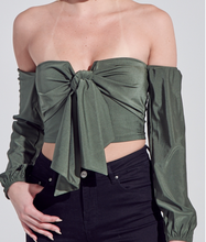 Load image into Gallery viewer, Olive Knot Tie V Wire Blouse