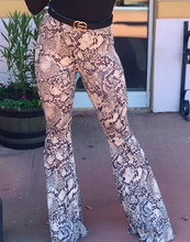 Load image into Gallery viewer, Grey Snake Print Bell Bottom Pants