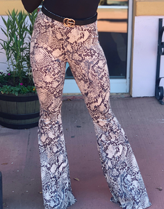 Grey Snake Print Bell Bottom Pants