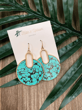 Load image into Gallery viewer, Open Circle Turquoise Marble Print Earring