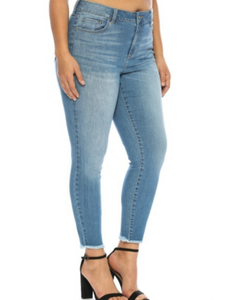 Mid Rise Medium Wash Crop Denim Jeans - Plus Size