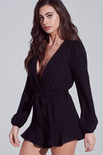 Load image into Gallery viewer, Ruffled Wrapped Black Romper