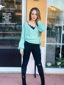 Mint Wrap Knit Sweater
