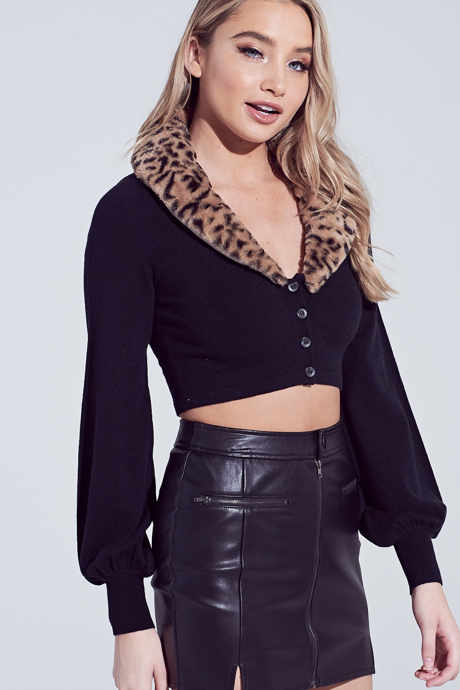 Leopard Faux Fur Crop Top