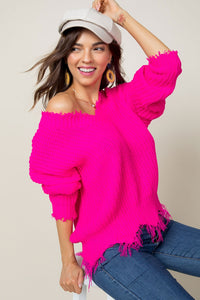 Neon Pink Frayed Sweater