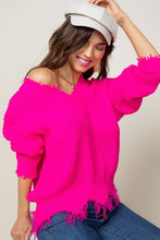 Load image into Gallery viewer, Neon Pink Frayed Sweater