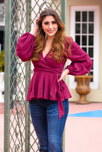 Burgundy Wrap Blouse