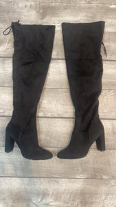 Suede Black Thigh High Boots