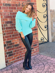 Minty Cowl Neck Sweater