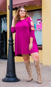 Cold Shoulder Purple Tunic Dress -Plus