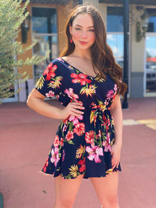 Tropical Navy Floral Romper