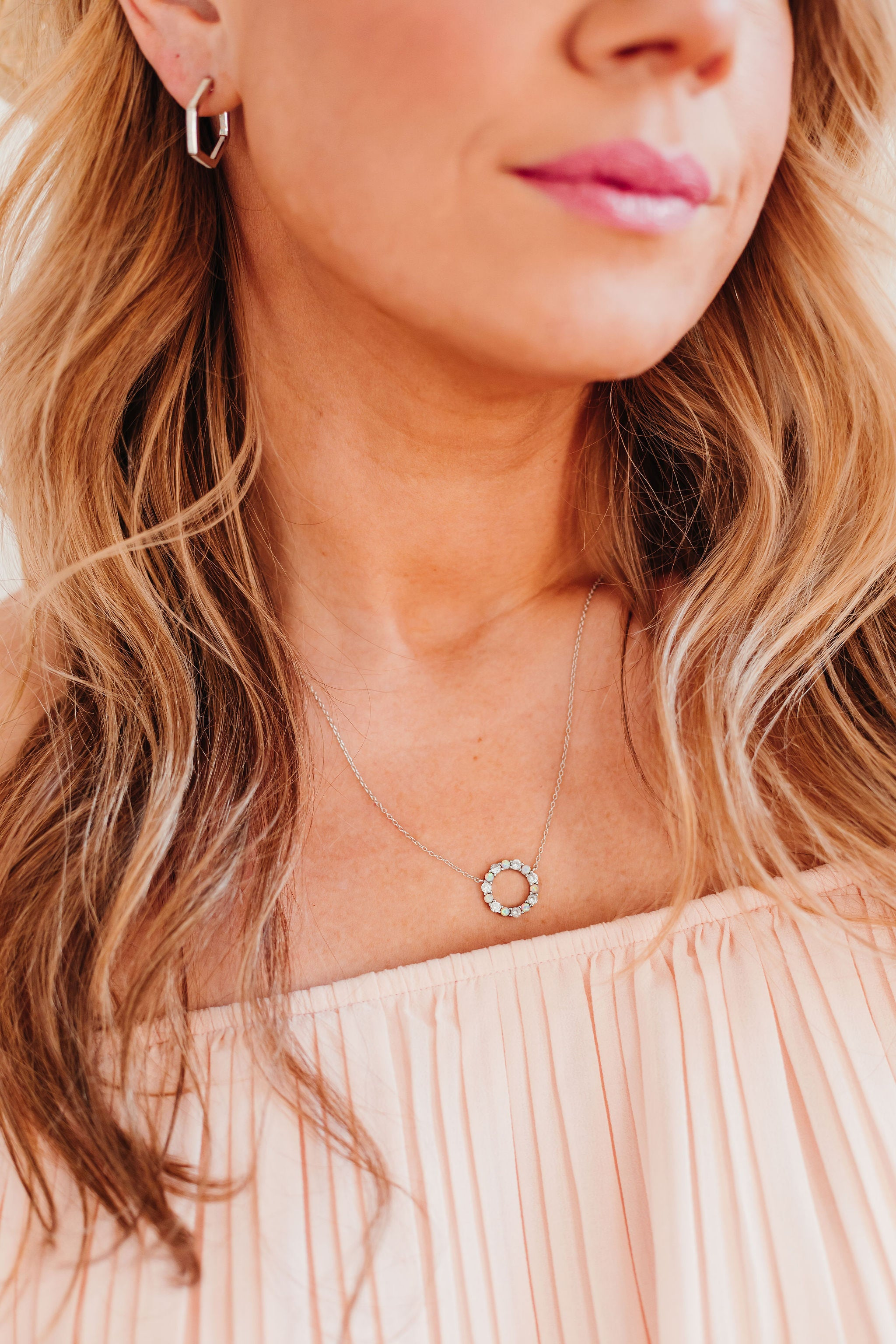 Chloe + Lois White Opal Infinity Necklace