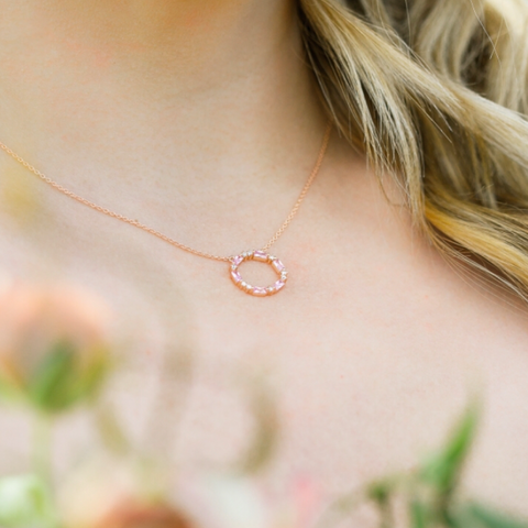 Chloe and Lois Rose Gold Blush Pink Necklace Bridesmaid Jewelry Wedding