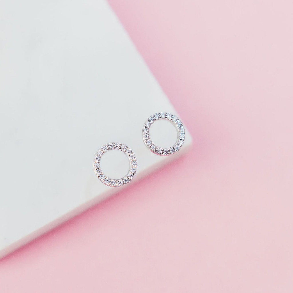 Slim Sparkling Circle Studs Earrings Chloe + Lois Sterling Silver