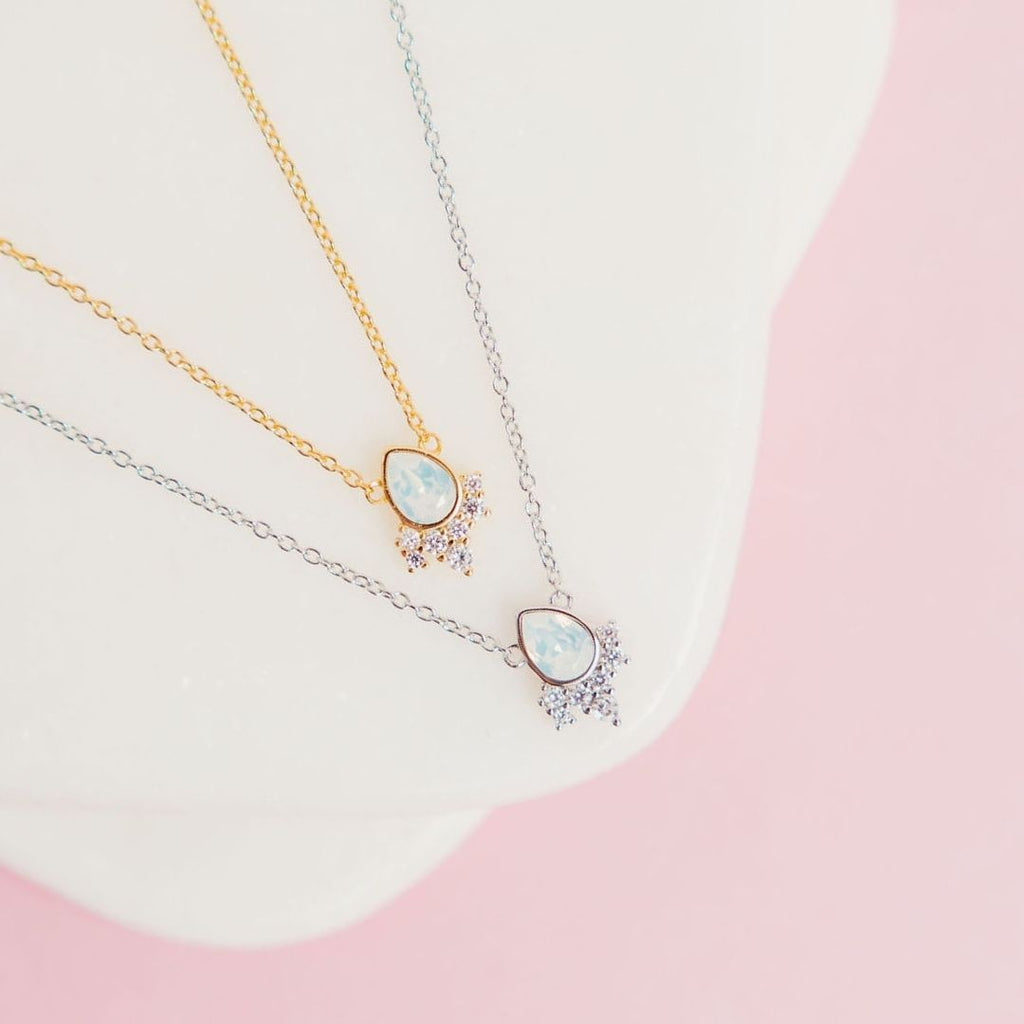 """Chloe"" Necklace in White Opal Swarovski® Necklaces Chloe + Lois"