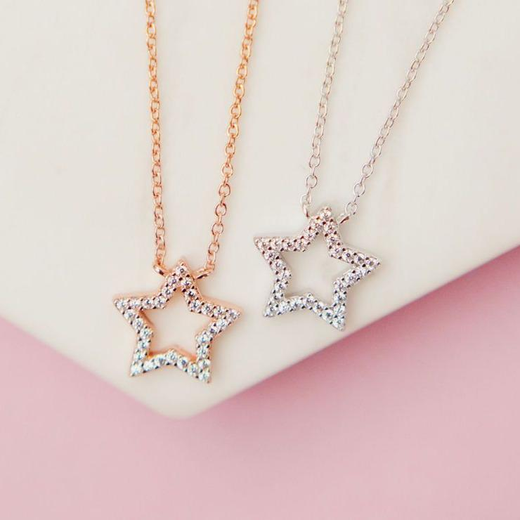Glittering Pavé Star Necklace Necklaces Chloe + Lois