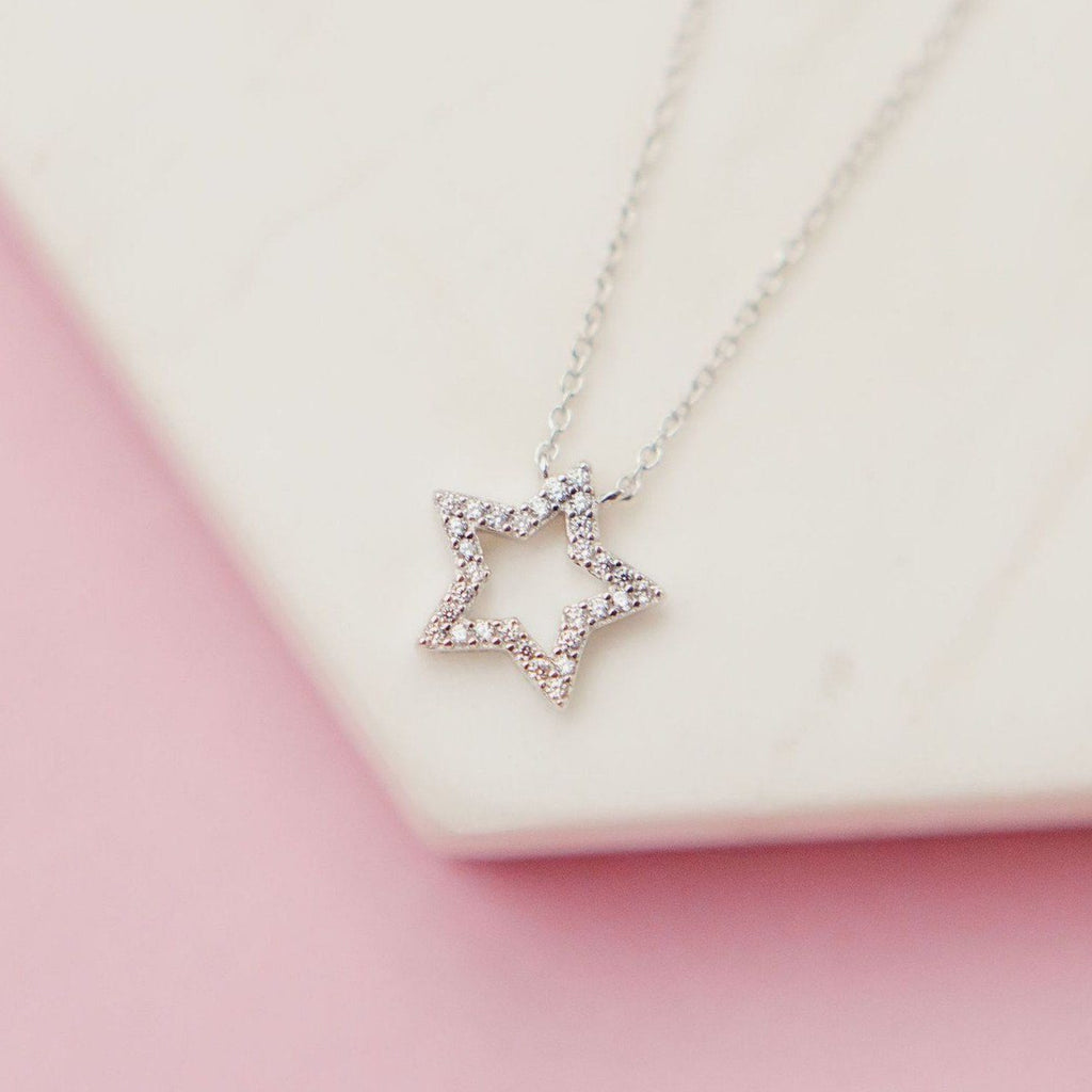Glittering Pavé Star Necklace Necklaces Chloe + Lois Sterling Silver