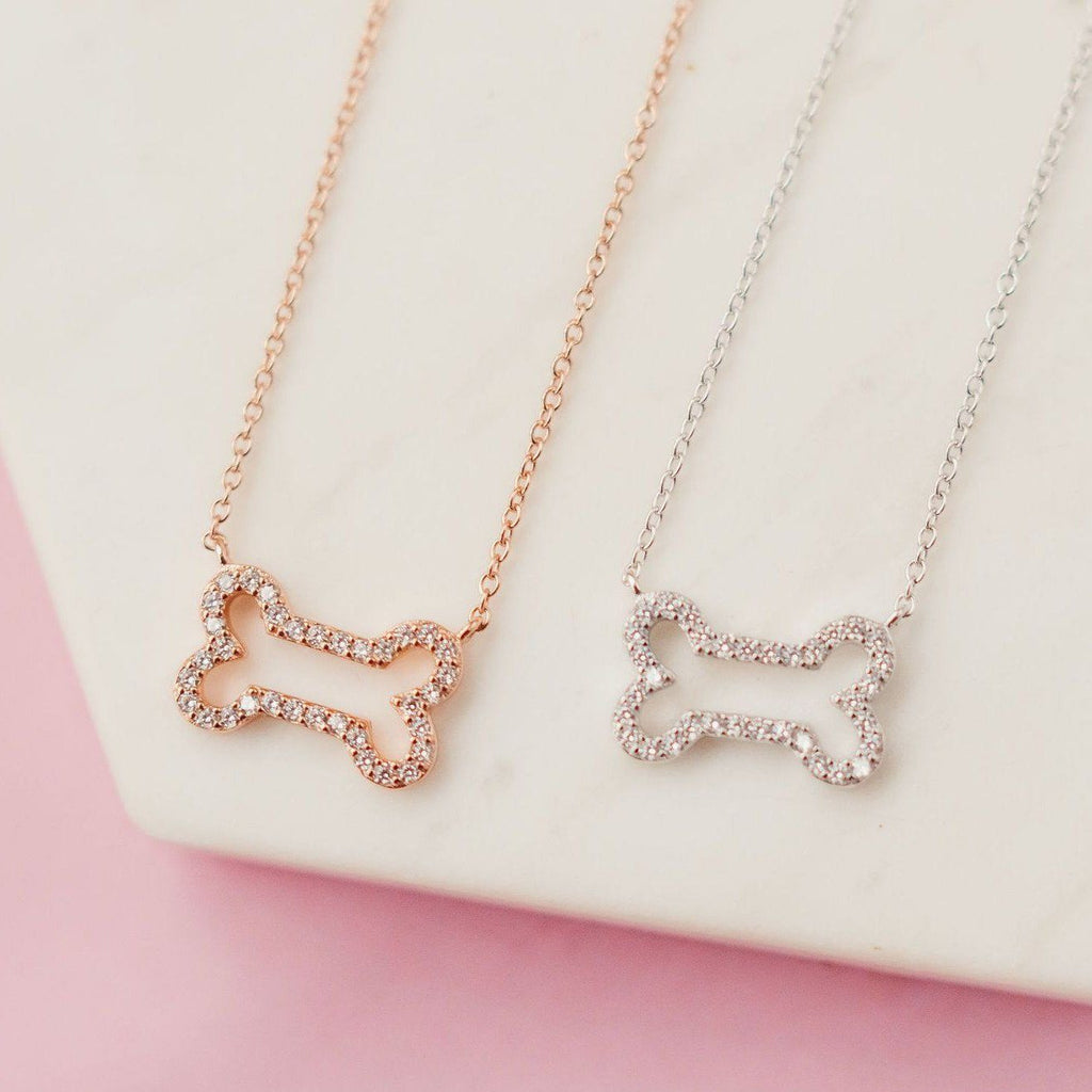 Glittering Pavé Dog Bone Necklace Necklaces Chloe + Lois