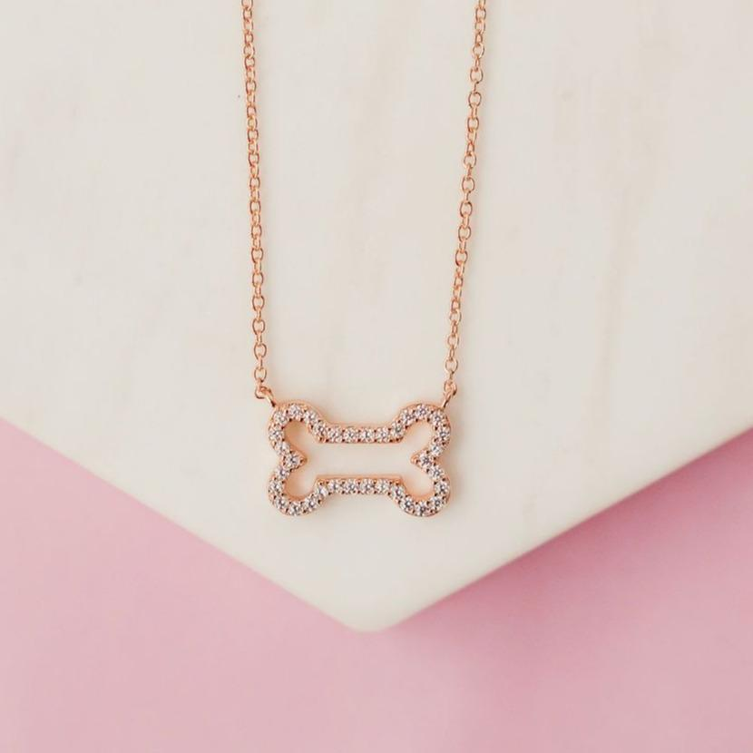 Glittering Pavé Dog Bone Necklace Necklaces Chloe + Lois Rose Gold