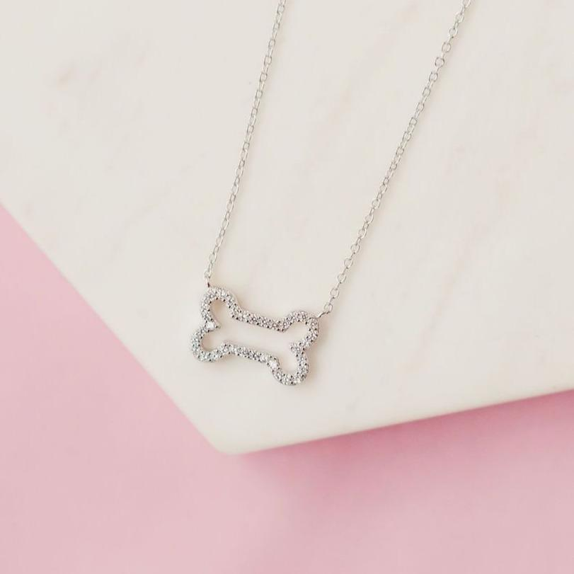 Glittering Pavé Dog Bone Necklace Necklaces Chloe + Lois Sterling Silver