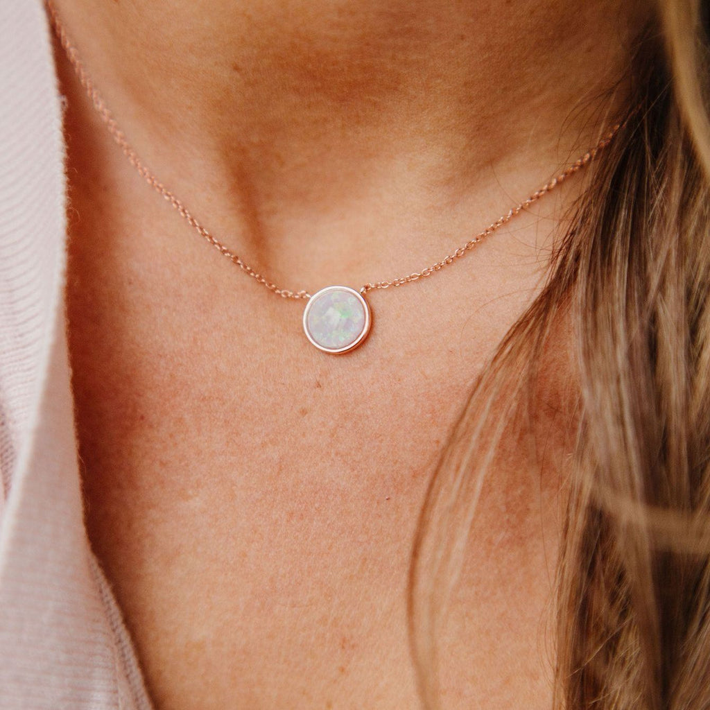 Milky Blue Opal Solitaire Necklace Necklaces Chloe + Lois