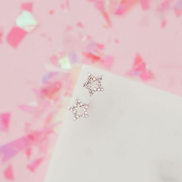 Glittering Pavé Star Studs Earrings Chloe + Lois Sterling Silver