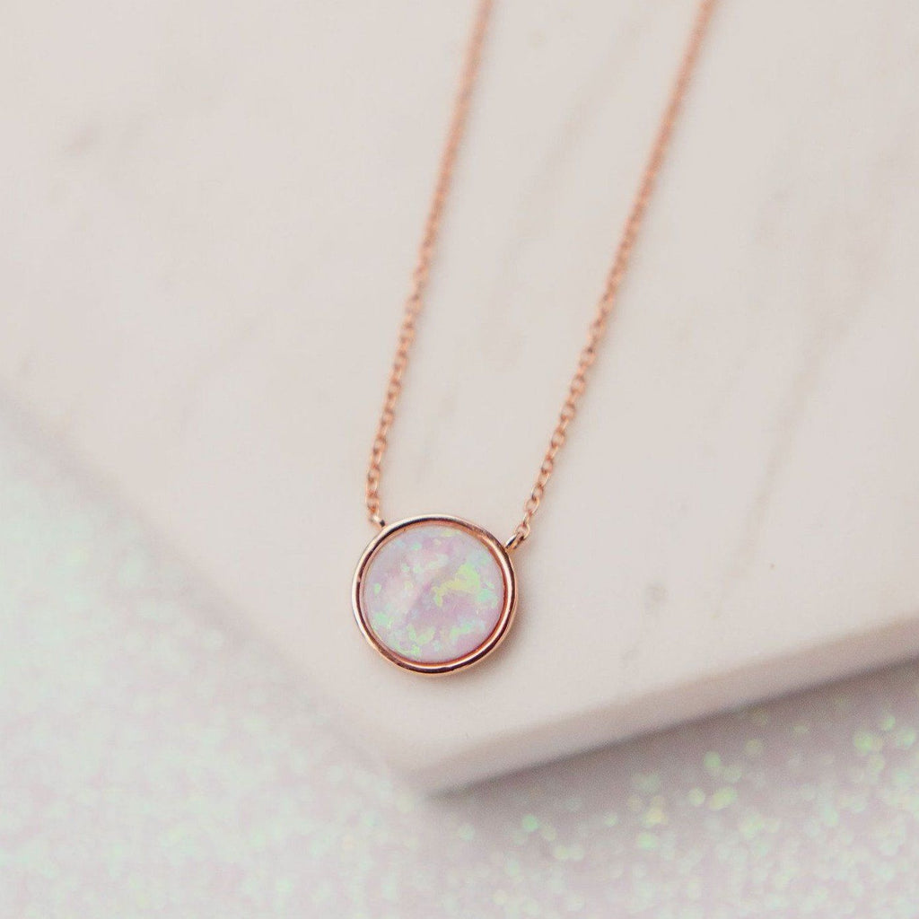 Milky Blue Opal Solitaire Necklace Necklaces Chloe + Lois Rose Gold