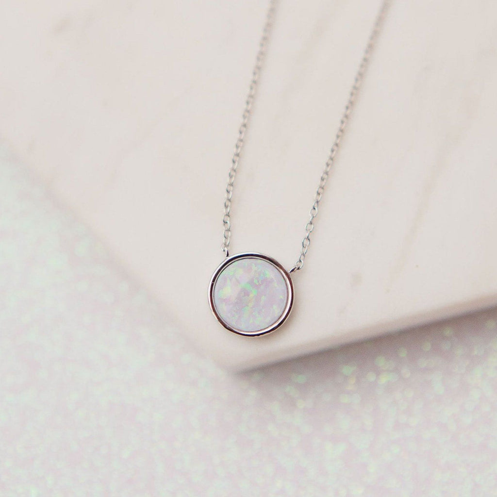 Milky Blue Opal Solitaire Necklace Necklaces Chloe + Lois Sterling Silver