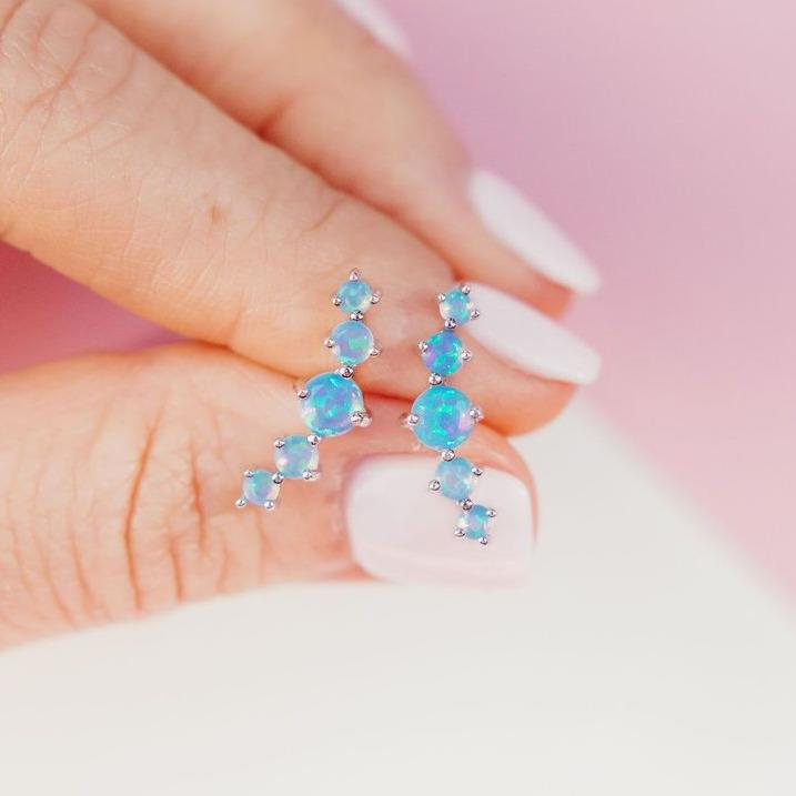 Blue Opal Mega Dot Ear Climbers Earrings Chloe + Lois